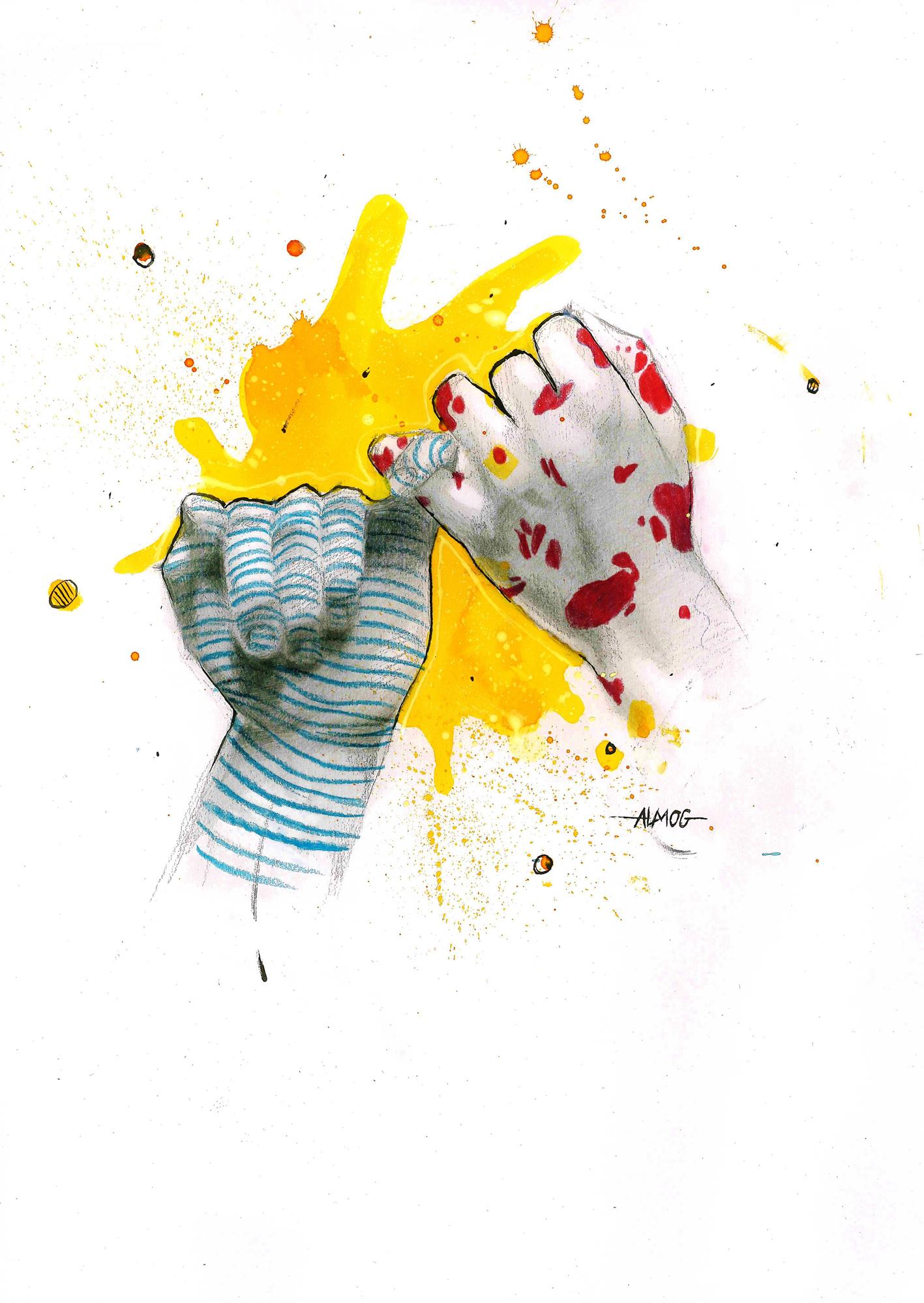 ילדים מציירים סובלנות, שוויון וקיום משותף על הקיר החיצוני של דיזנגוף סנטר